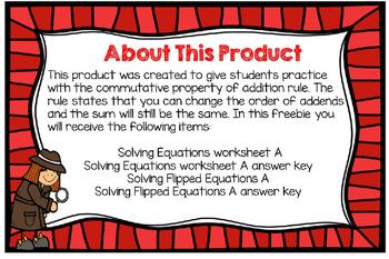 Solving Flipped Equations (Commutative Property of Addition)-Freebie-