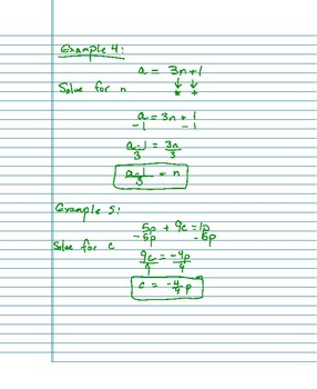 Solving For A Variable