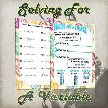 Solving For A Variable- (Guided Notes & Practice)