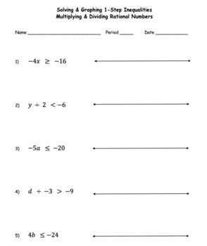 Solving Graphing 1 Step Inequalities Multiply Divide MIXED Reverse Sign with KEY