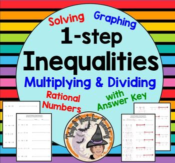 Solving Graphing 1 Step Inequalities Multiplying Dividing Rational Numbers & KEY