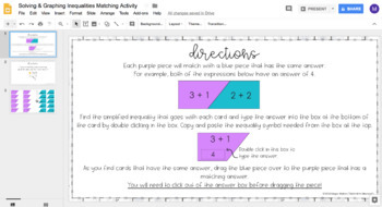 Solving & Graphing Inequalities DIGITAL Matching Activity for Google Drive™