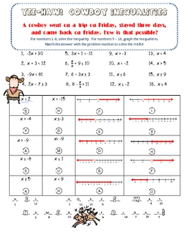 Solving & Graphing Inequalities Fun Riddle Activity