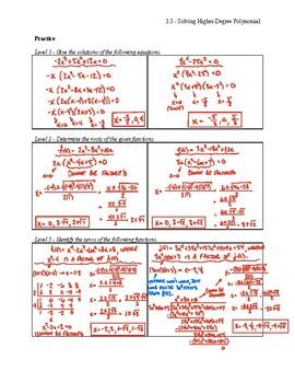 Solving Higher-Degree Polynomials Notes Key