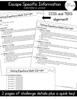 Solving Higher Level Equations Escape Room Activity