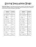 Solving Inequalities Bingo