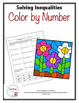 Solving Inequalities Color By Number Activity By Teaching From A Z