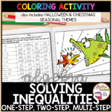 Christmas Algebra Solving Inequalities Differentiated Coloring Activities