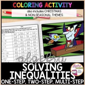 Christmas Algebra Solving Inequalities Differentiated Coloring Activities