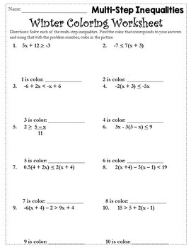 Solving Inequalities Coloring Activity {Solving Inequalities Activity}