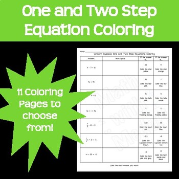 One and Two Step Equations Coloring Easter Spring Holidays Seasons 11 Pack!