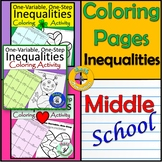 Solving Inequalities Coloring Pages One Step One Variable