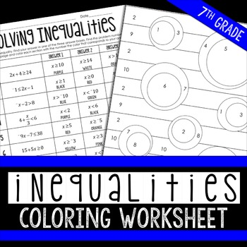 Inequalities Coloring Page By Lindsay Perro Teachers Pay Teachers