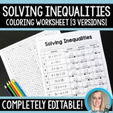 Solving Inequalities Coloring Worksheet - Editable