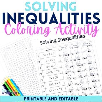 Solving Inequalities Coloring Worksheet Editable By Lindsay Perro