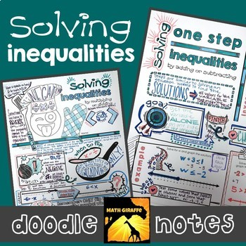 Solving Inequalities Doodle Notes Set by Math Giraffe | TpT