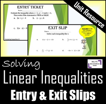 Solving Inequalities: Entry & Exit Slips