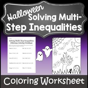 Algebra 1 and 2 Halloween Coloring Activity {Halloween Algebra Inequalities}