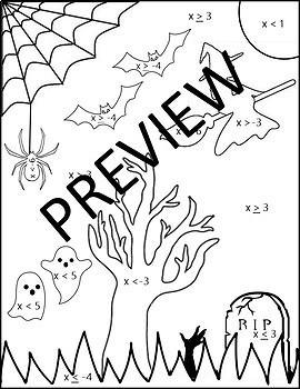 Halloween Algebra Inequalities {Algebra 1 and 2 Halloween Coloring Activity}