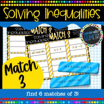 Solving Inequalities Match 3 Activity; Algebra 1, Multi-Step