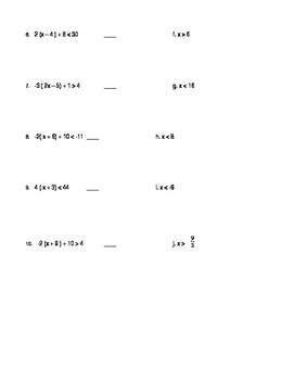 Solving Inequalities Matching Activity
