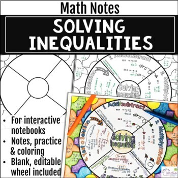 Solving Two-Step Inequalities Math Wheel - Fun Note-Taking Format