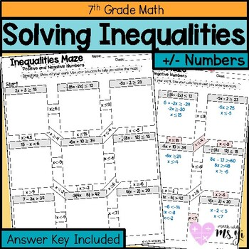 Solving Inequalities Maze Worksheet By Math With Ms Yi Tpt
