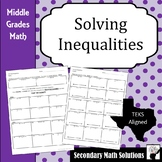 Solving Inequalities Notes & Practice (6.10A, 6.9B, 6.10B, 7.11A, 7.10B, 7.11B)