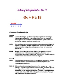 Solving Inequalities, Part II