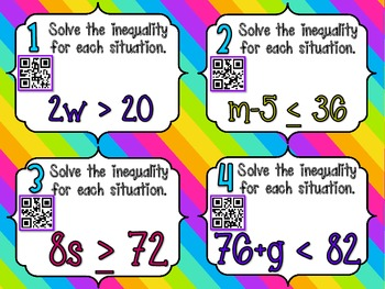 Solving Inequalities **QR CODE Task Cards**