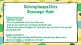 Solving Inequalities Scavenger Hunt