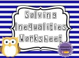 Solving Inequalities & Shading Number Lines Worksheet