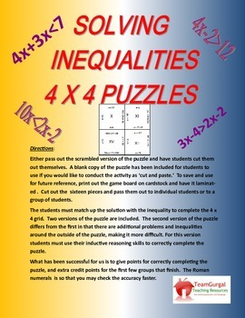 Solving Inequalities Sort (4 x 4 Puzzle)
