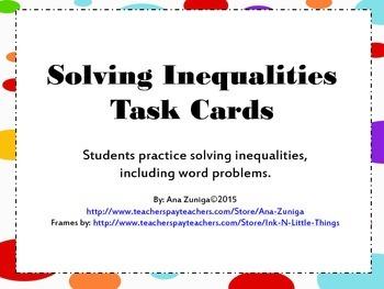 Solving Inequalities Task Cards