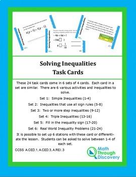 Algebra I:  Solving Inequalities Task Cards