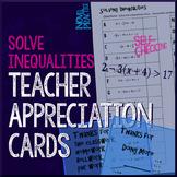 Solving Inequalities Teacher Appreciation Cards