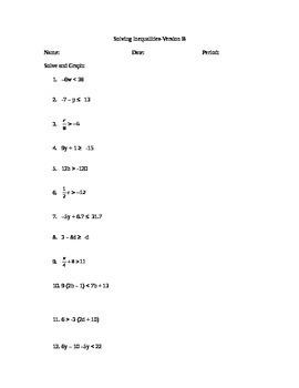 Solving/Graphing Inequalities Worksheet/Assessment-Version B