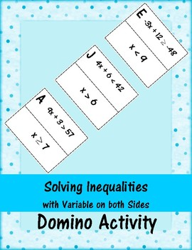 Solving Inequalities - Variable on both Sides - Domino Activity