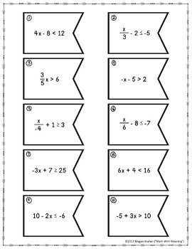 Solving Inequalities (With Integers) Matching Activity