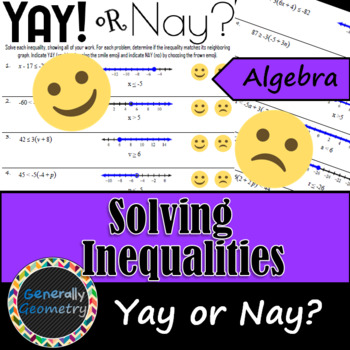 Solving Inequalities Yay! or Nay? Activity; Algebra 1
