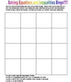 Solving Inequalities and Equations Bingo Board and Problems
