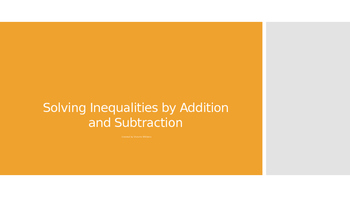 Solving Inequalities by Addition or Subtraction