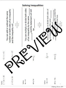 Solving Inequalities for Interactive Notebook 7.EE.4b