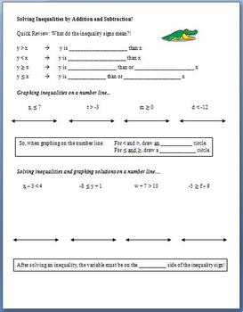 Solving Inequalities with Addition and Subtraction (Guided Notes)