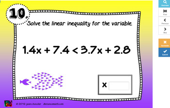 Solving Inequalities with BOOM Cards Digital 1:1 Algebra