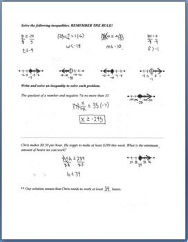 Solving Inequalities with Multiplication and Division (Guided Notes)