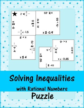 Solving Inequalities with Rational Numbers Puzzle