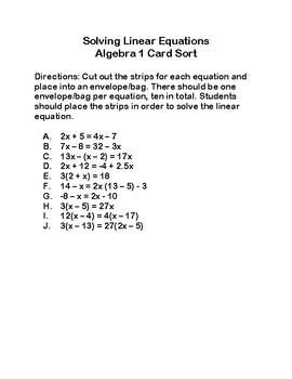 Solving Linear Equation Card Sorts