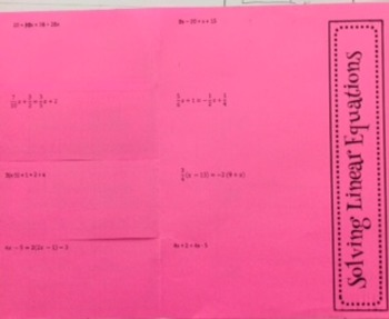 Solving Linear Equations Foldable