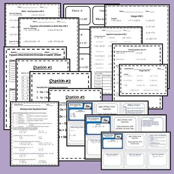 Solving Linear Equations Bundle - 8.EE.7 {EDITABLE}